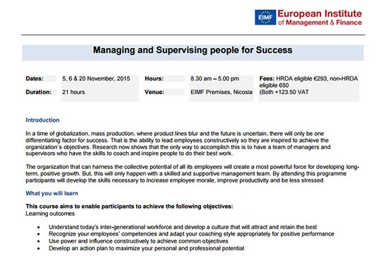 New practical seminar on Managing and Leading people successfully